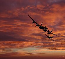 Lancaster Spitfire Shadow by J Biggadike