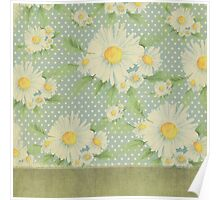 Rustic,floral,sunflower,pattern,vintage,grunge,baby blue,white,small polka dots,trendy,modern Poster