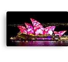 Pink Sails At Night - Sydney Vivid Festival - Australia Canvas Print