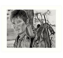 Charcoal Portrait - The Walking Dead (Daryl) Art Print