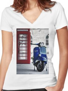 Italian Blue Vespa Rally 200 Scooter Women's Fitted V-Neck T-Shirt