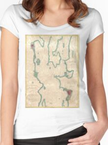 Vintage Map of Lake Champlain (1874) Women's Fitted Scoop T-Shirt
