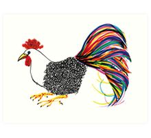 Calligraphic Rooster Art Print