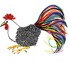Calligraphic Rooster Photographic Print