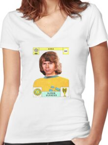 Bjorn Ulvaeus from Abba retro football team design!~ Women's Fitted V-Neck T-Shirt