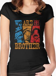 We Are Brothers - Portgas D Ace, Monkey D Luffy, Sabo One Piece Women's Fitted Scoop T-Shirt