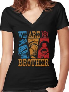 We Are Brothers - Portgas D Ace, Monkey D Luffy, Sabo One Piece Women's Fitted V-Neck T-Shirt