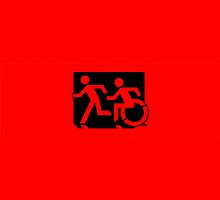 Accessible Means of Egress Icon and Running Man Emergency Exit Sign, Left Hand by Egress Group Pty Ltd