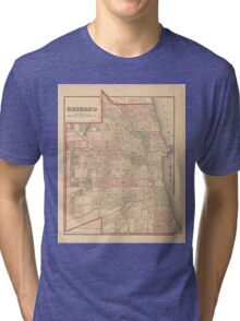 Vintage Map of Chicago Illinois (1876) Tri-blend T-Shirt