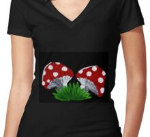 mushrooms / toadstools Women's Fitted V-Neck T-Shirt