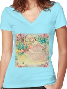 Beautiful,painted,vintage,victorian lady,floral garden,birds,nature Women's Fitted V-Neck T-Shirt
