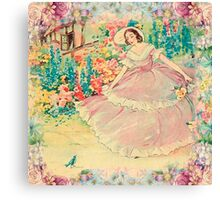 Beautiful,painted,vintage,victorian lady,floral garden,birds,nature Canvas Print