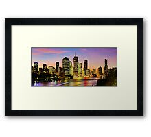 Brisbane City View from Kangaroo Point Cliffs Panorama Framed Print