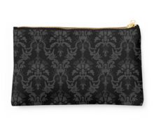 Cosmic Damask Gray on Black Studio Pouch