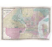 Vintage Map of Philadelphia Pennsylvania (1876) Poster