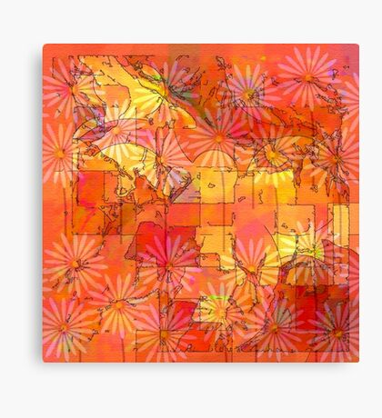Abstract Shapes Over Daisies: Maps & Apps Series Canvas Print