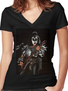 Gene Simmons of Kiss Painting Women's Fitted V-Neck T-Shirt