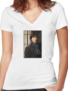Sherlock at 221B Women's Fitted V-Neck T-Shirt