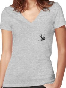 Sailor Jerry Swallow / Black & White Women's Fitted V-Neck T-Shirt
