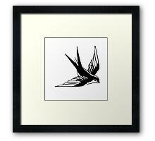 Sailor Jerry Swallow / Black & White Framed Print