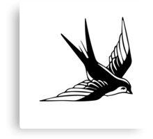 Sailor Jerry Swallow / Black & White Canvas Print