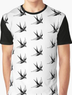 Sailor Jerry Swallow / Black & White Graphic T-Shirt