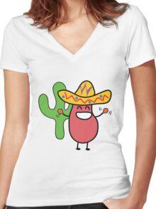 Little Mexican Jumping Bean - Cute Kids Cartoon Character Women's Fitted V-Neck T-Shirt