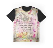 Jane Austen whimsical travel quote Graphic T-Shirt
