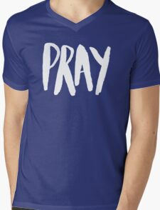 Pray Typography II Mens V-Neck T-Shirt