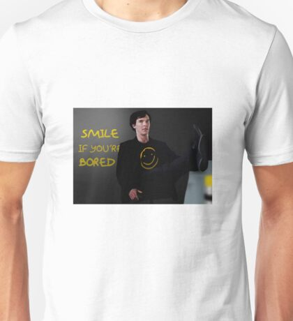 Smile if You're Bored Sherlock Unisex T-Shirt