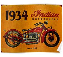 """INDIAN"" Motorcycles Advertising Vintage Print Poster"