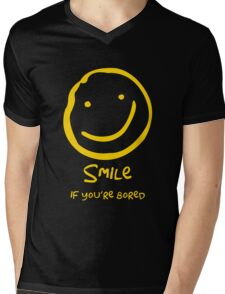 Smile if You're Bored (Text Version) Mens V-Neck T-Shirt