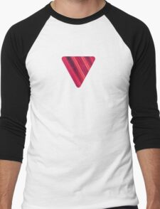 Modern Red / Black Stripe Abstract Stream Lines Texture Design  Men's Baseball ¾ T-Shirt