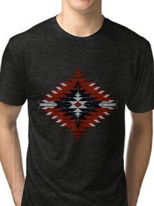 Native American Southwest-Style Red/Black Sunburst Tri-blend T-Shirt