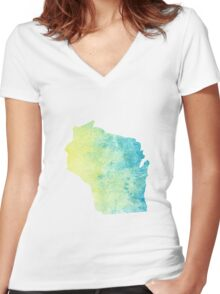 Wisconsin Women's Fitted V-Neck T-Shirt