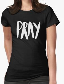 Pray Typography x Rose Womens Fitted T-Shirt