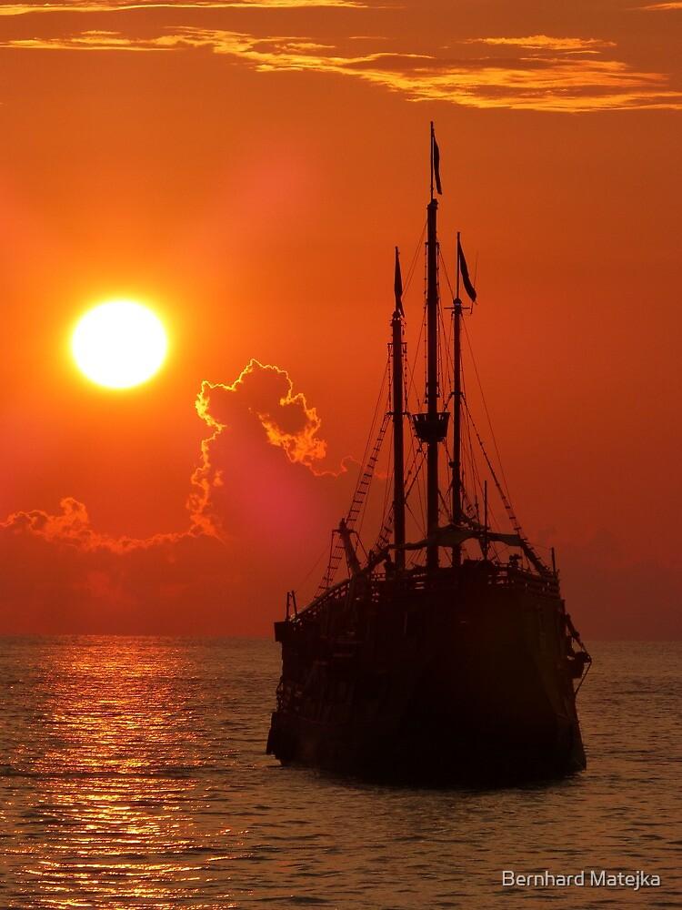 marigalante with sunset - marigalante con puesta del sol by Bernhard Matejka