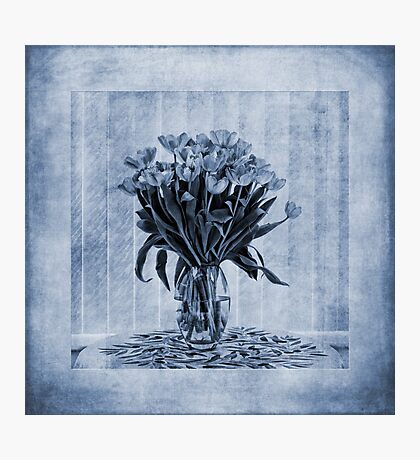 Watercolour Tulips in Blue Photographic Print