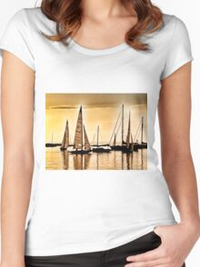 Sailboats at Sunset Women's Fitted Scoop T-Shirt