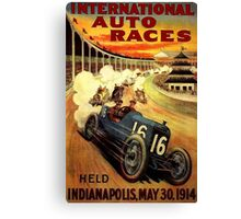"""INTERNATIONAL AUTO RACES"" Advertising Print Canvas Print"