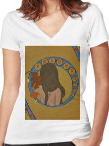 Pocahontas Art Neuveau Women's Fitted V-Neck T-Shirt