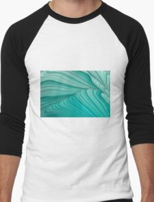 Folded Blue Green Abstract Men's Baseball ¾ T-Shirt