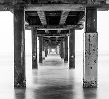 Under the Pier - B&W by psankey