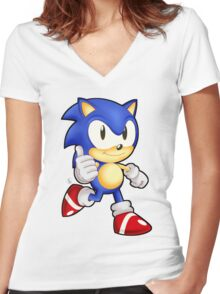 Classic Sonic the Hedgehog Women's Fitted V-Neck T-Shirt