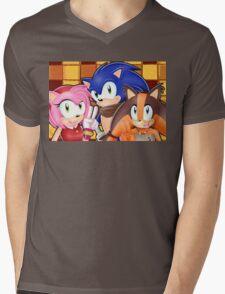 Sonic Boom: Sonic, Amy Rose and Sticks Mens V-Neck T-Shirt