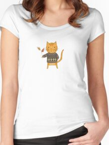 Autumn Cat Women's Fitted Scoop T-Shirt