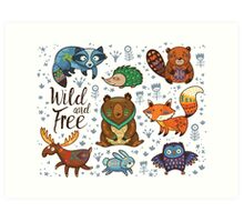Woodland annimals Art Print