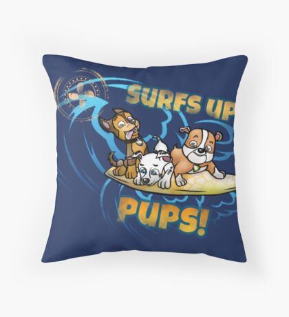 Surfing pups Throw Pillow