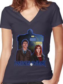 Partners In Crime Doctor Who Tenth Doctor Donna Noble David Tennant Catherine Tate #DTfan4life  Women's Fitted V-Neck T-Shirt