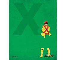 Captain X - Superhero Minimalist Alphabet Print Art Photographic Print